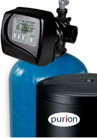 purion Water Softeners with large brine tanks and auto demand clack valves for minimal service requirements